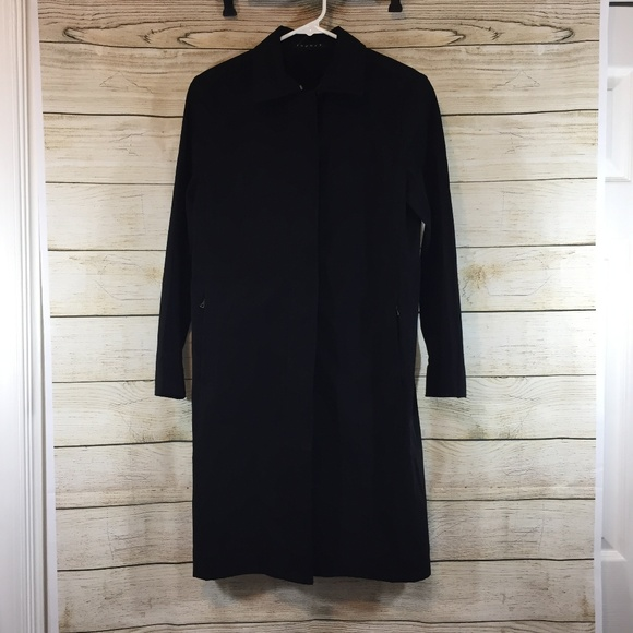 8449a4d8d92 Theory Jackets & Coats | Womens Black Long Jacket Trench Coat S ...